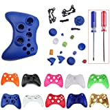 HDE Controller Shell Case Cover Replacement Kit for Xbox 360 w/ Button Set, Torx Screwdriver, & Crosshead Screwdriver (Blue)