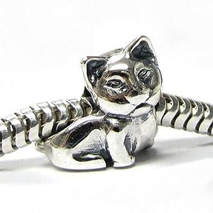 .925 Sterling Silver Kitty Cat Bead For Pandora European Charm Bracelets