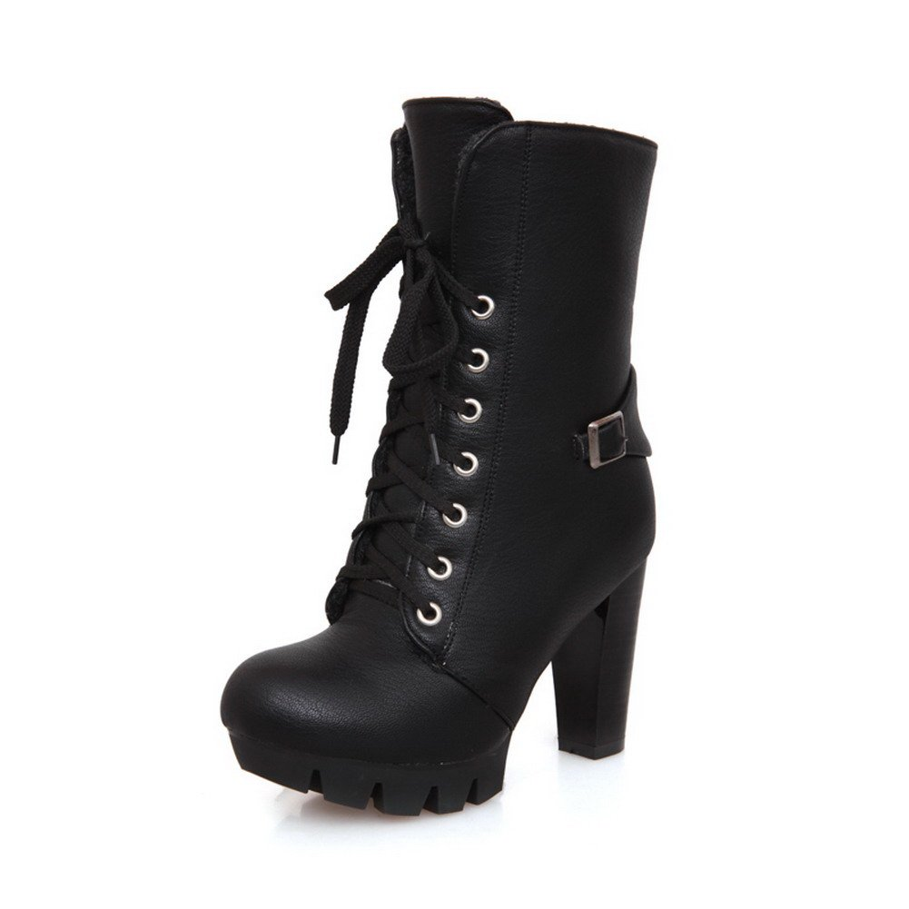 BeautyLover Women's Close Round Toe Platform Lace-up Closure Chunky Heels Nappa and PU Ankle High Boots with Buckles