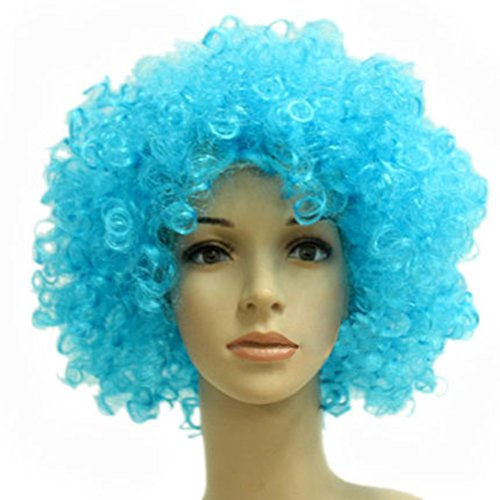 Party Cosplay Quirky Wig Periwig Wild-curl up Curly Clown Costumes, Sky Blue
