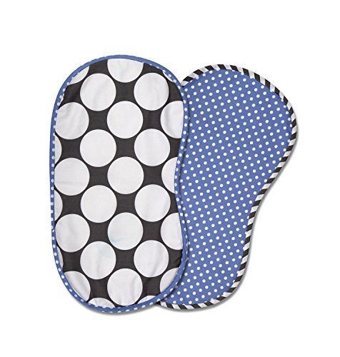 Bacati 2 Piece Dots/Pin Stripes Dots Burpies Set, Grey/Blue - 1