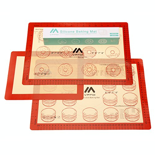 [ VFAD ] Baking Mat Set, FDA Non Stick Silicone Baking Mat With Measurements For Toaster Oven 2 Pcs Half Sheet & 1 Pc Small Toaster Oven Size (Pasteles Machine compare prices)