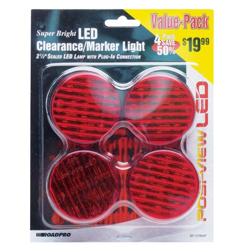 """Roadpro Rp-1279R4P Red 2.5"""" Led Round Sealed Light, (Pack Of 4)"""