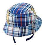 Blue Plaid / Solid Blue - Reversible Bucket Sun Hat for Boys