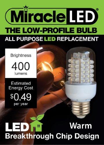 Miracle Led 605007 General Purpose Bulb, Low Profile, 400 Lumen, Medium Base, Soft White
