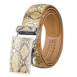 Radyman Men Imitation Snakeskin Leather Automatic Buckle Waist Belt - Camel 47