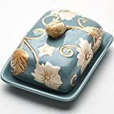 CERAMIC Butter Dish Tray With Lid Freezer Safe Blue MB-22444