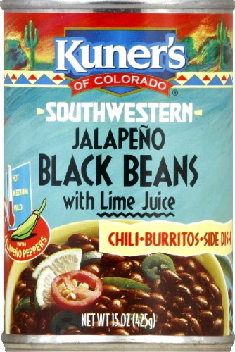 Kuner's Black Beans Jalapeno, 15-ounces can (Pack of 12) (Black Beans Can compare prices)