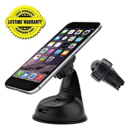 Magnetic Car Mount l Jetesun® 3 in 1 Universal Dashboard/Windshield/Air Vent Car Mount Holder for Apple iPhone SE 6 Plus,5S 5C 5, Samsung Galaxy Edge S7 S6, HTC Nexus 6 5 And Other Cell Phones