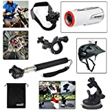 EEEKit 5-in-1 Bike Car Sports Mount Holder Kit for for Polaroid XS100/XS80 Action Camera, Extendable Selfie Stick Handheld Monopod Holder Mount + Bike Handlebar Holder Mount + Car Suction Cup Mount Tropod Holder + Car Suction Cup Pad + Helmet Belt Strap Mount Holder + EEEKit Pouch