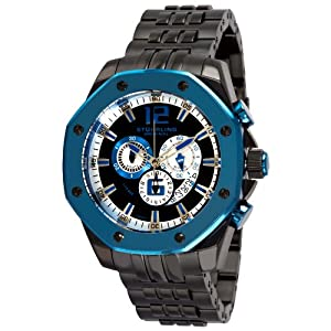 Stuhrling Original Men's 181CR.332L913 Nautilus Swiss Quartz Chronograph Blue Bezel Watch