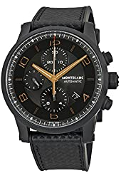 Montblanc Timewalker Chronograph Black and Grey Dial Black Leather Mens Watch 111684