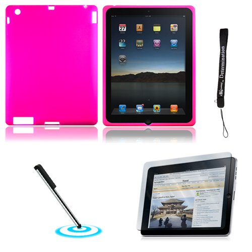 Pink Magenta Silk Premium Durable Protective Skin for Apple iPad 2 Tab Tablet 2nd Generation + Includes a High Quality and Durable Anti Glare Screen Protector, will prevent from any scratches and dirt going to your iPad Touch Screen + Includes a Graphic Designer Stylus Pen