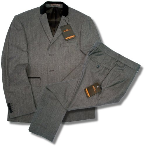 Ben Sherman Slim 3 Button Velvet Collar Mod Ted Suit Grey Herringbone 38 chest / 32 waist