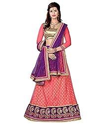 Manvaa Women Net Lehenga Choli(Pink_ASNB2117gajari_Free Size)