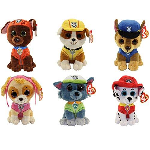 Ty Paw Patrol Beanie Babies - Set of 6! Marshall, Chase, Skye, Rocky, Rubble and Zuma!