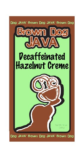 Brown Dog Java's Decaf Hazelnut Creme gourmet flavored coffee in a 12 oz bag
