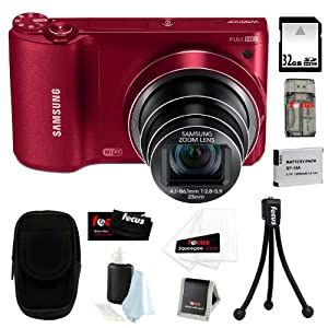 Samsung WB800F 16.3MP w/ Wi-Fi Ready Smart Digital Camera in Red + 32GB MicroSD HC Memory Card + Camera Case + Flexible Tripod, Memory Card Wallet, 3pc Cleaning Kit & 3 Screen Protectors + Micro Fiber Cleaning Cloth + Replacement Battery + All in 1 One High Speed Card Reader