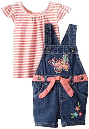 Young Hearts Baby-Girls Infant Denim Shortall and Stripe Knit Set, Red Music, 18 Months