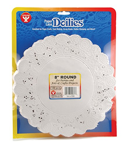Hygloss 10081 100-Piece Round Doilies, 8-Inch, White