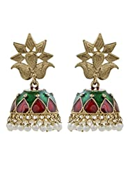 The Jewelbox Red Green Gold PLated Meenakari Pearl Jhumki Earring For Women