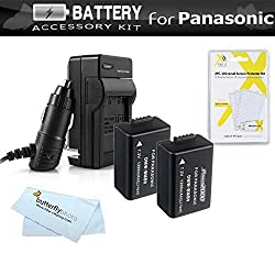 2 Pack Battery And Charger Kit For Panasonic Lumix DMC-FZ70 DMC-FZ70K DMC-FZ60 DMC-FZ100 DMC-FZ40 DMC-FZ47 DMC-FZ150 Digital Camera Includes 2 Extended Replacement DMW-BMB9 Rechargeable Lithium-Ion Battery (1200Mah) (with Info-Chip!) + Charger + More