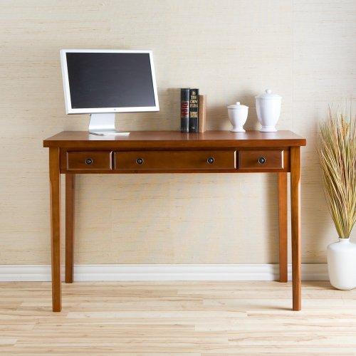 SEI Classic Medium-Mahogany Desk with 2 Drawers and Keyboard Tray