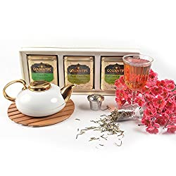 Golden Tips Diwali Gift Box Pack Roseherb, Peach and Jasmine(All Green Tea) - Tin Can, 3X100g