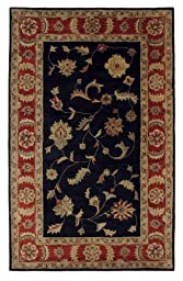 Area Rug, Black/Red Traditional Bordered Soft Wool Carpet, 2-Foot 2-Inch X 8-Foot