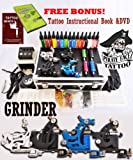GRINDER Tattoo Kit by Pirate Face Tattoo / 4 Tattoo Machine Guns – Power Supplies / 15 INK / LCD Power Supply / 50 Needles / PLUS Accessories