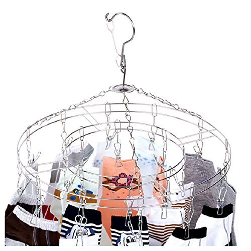 Uelfbaby Laundry Clothesline Hanging Rack for Drying Clothing Set of 20 Stainless Steel Clothespins Round (Baby Clothes Dryer Rack compare prices)