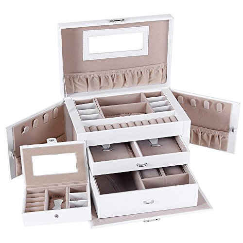Songmics White Leather Jewelry Box w/ Travel Case and Lock Storage Case Organizer UJBC121W