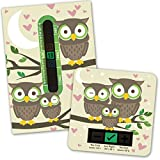 Owl room thermometer and bath thermometer set