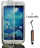 Coque tranparente étui housse gel souple silicone rabat flip pour Samsung galaxy S3 + stylet offert