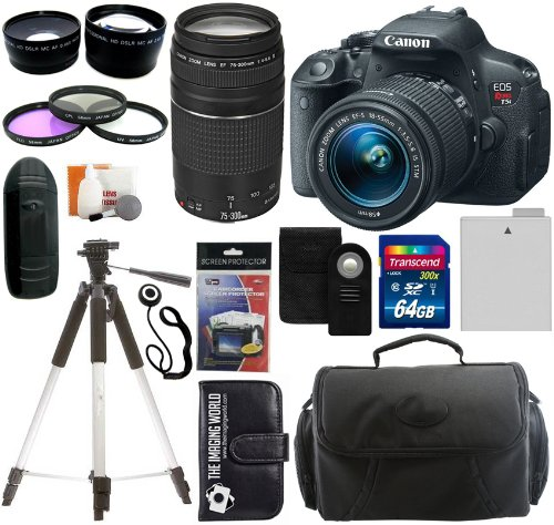 Canon Eos Rebel T5I Digital Camera Slr Kit With Canon Ef-S 18-55Mm Is Ii Stm Lens + Canon Ef 75-300Mm F/4.0-5.6 Iii Autofocus Lens + 64Gb Card And Reader + Wide Angle And Telephoto Lenses + Tripod + Battery + Filters + Accessory Kit