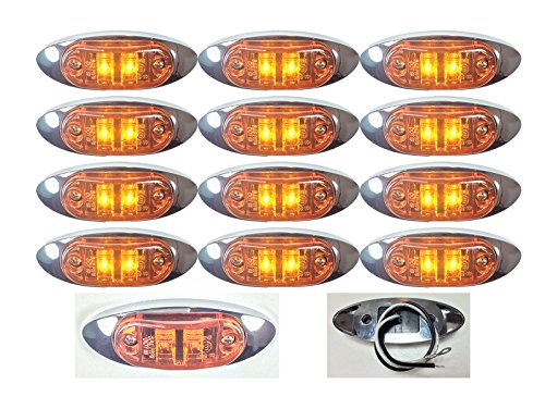 """12 New 4""""X1.5"""" Amber Led Surface Mount Clearance Marker Light With Chrome Bezel Oval Oblong -Good For Trucks Trailers Etc El-112692A"""