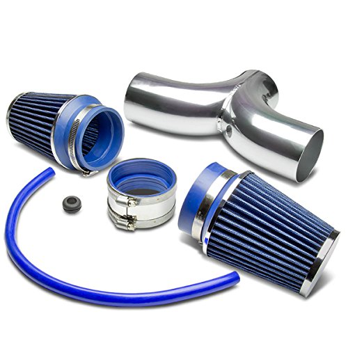 Dodge SUV/Truck Short Ram Cold Air Intake Pipe Kit Set (Silver Pipe+Blue Filter)