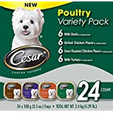 Cesar Canine Cuisine Poultry Variety Pack for Small Dogs, Grilled Chicken, Turkey, Oven Roasted Chicken, Duck Flavors, 1-Carton with 24 (3.5oz) Trays