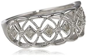 Sterling Silver Diamond Fashion Ring (0.1 cttw, H-I Color, I2-I3 Clarity) from Delmar Mfg LLC