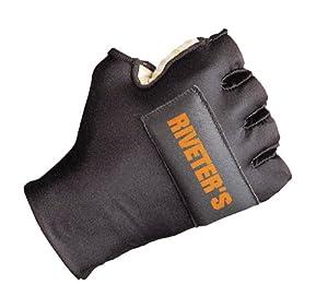 Decade 49451 Riveter's Half-Finger Left Hand Glove with Gfom, Black, Large-XXLarge