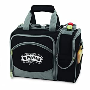 NBA San Antonio Spurs Malibu Insulated Shoulder Pack with Deluxe Picnic Service for... by Picnic Time