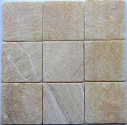 4x4 Honey Onyx Tumbled Mosaic Tiles