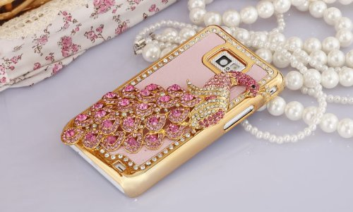 Imprue Deluxe Handmade Baby Pink / Baby Pink Peacock Bling Crystal Diamond Rhinestone Hard Case Skin Cover For Samsung Galaxy S2 Sii T989 (For T-Mobile Only) front-48783