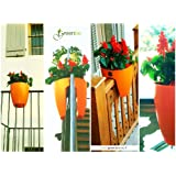 modern, sleek saddle planter for balconies and railings, indoors and out.Orange railimg /fence/garden plant potby Best4garden