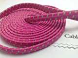 CablesFrLess (TM) 10ft Flat Braided Micro USB Charging / Data Sync Cable fits most Android Phones and Tablets Samsung Galaxy S3 S4 Reverb Note Tab Google Nexus Kindle Nokia Lumia HTC One ASUS LG G2 Pantech Blackberry Motorola Sony Xperia etc. (Hot Pink)