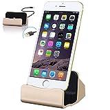 iPhone7 / iphone 7 plus 卓上ホルダー 【MaxKu 】 充電クレードル 同期 スタンド iPhone6/6s/6Plus/6s plus/iPhone7/iphone 7 plus/iphone SE/5s/5c/5/ ipod touch 6/iPad mini対応 Dock 充電スタンド 4色選択 (ゴールド)