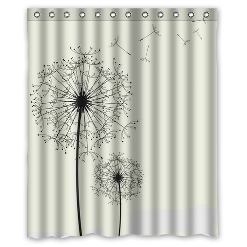 Custom Unique Design Dandelion Waterproof Fabric Shower Curtain, 72 By 60-Inch front-338254