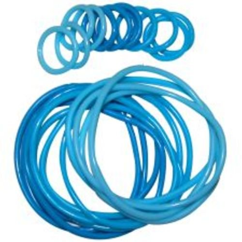 12 Rubber Bracelets with 12 Rings, in Blue - 1