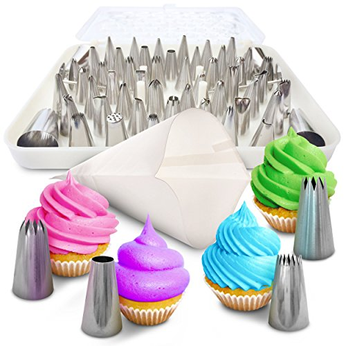 BakeLux Cake Decorating Tips Set – 56 Piece Professional Kit With 18-Inch Reusable Cotton Pastry Bag For Icing Piping, 2 Flower Nails, Coupler, Storage Box, Duyas Reposteria, Baking Tools Supplies
