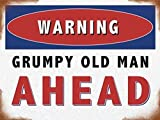 Warning, grumpy old man ahead. Traffic sign funny. Birthday or fathers day present idea for dad or grandad. For house, home, driveway, shed, garage, kitchen etc. Christmas Xmas Gift. Small Metal/Steel Wall Sign